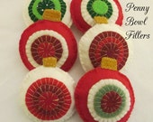 ORNAMENT BOWL FILLERS Set of Six Felt Pennies Holiday Décoration