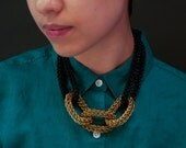MetaMaille Three Brass Rings Necklace in BLACK or WHITE
