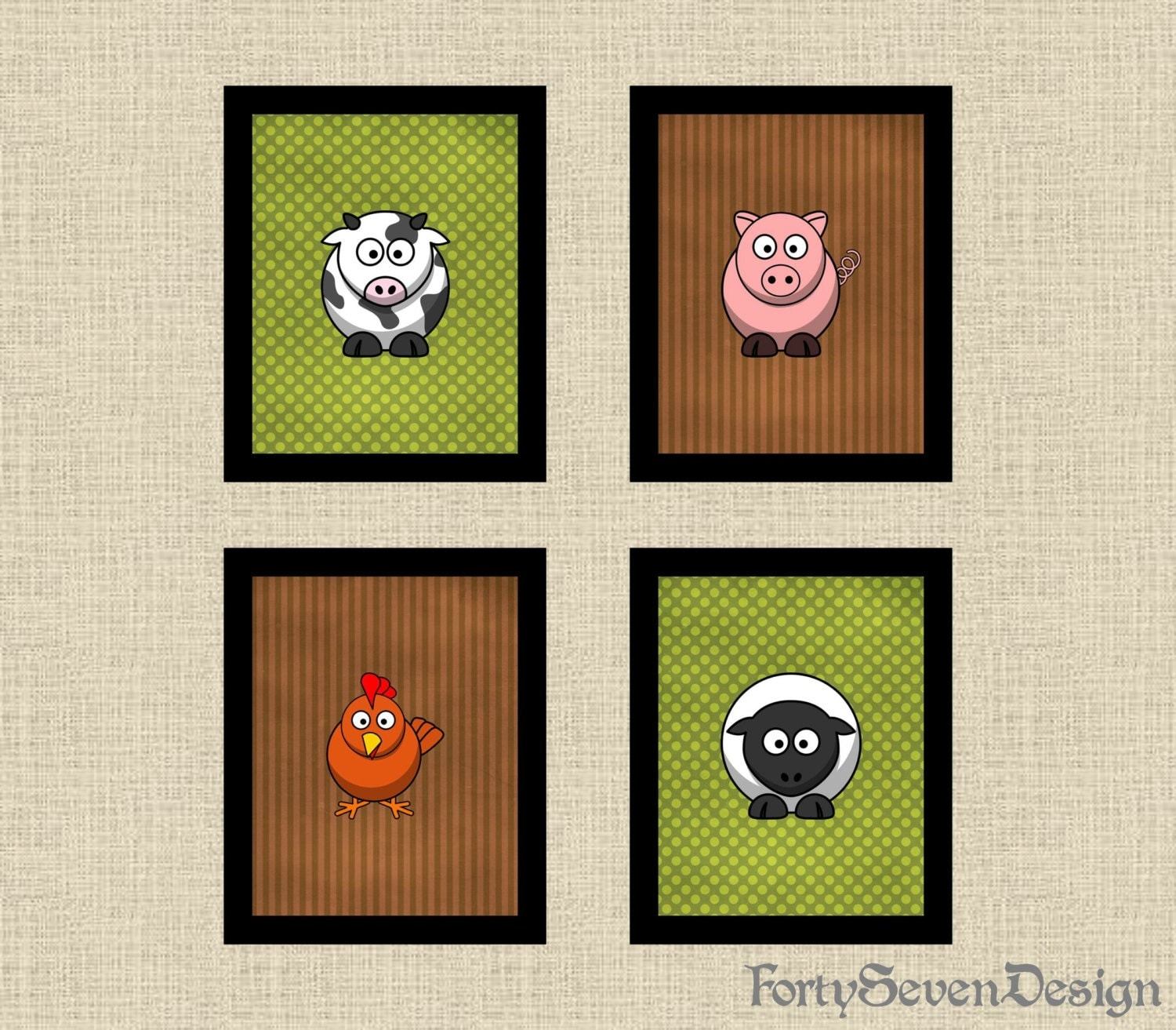 Farm Wall Art farm animals nursery pictures printable wall art set of 4