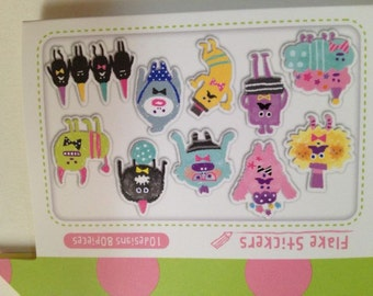 Japan Qlia Ouchiina kawaii MONSTER stickers flake