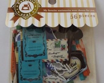 Japan Mind Wave kawaii STATIONARY 56 pcs stickers sack/ 74896