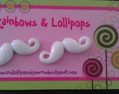 White mustache post earrings
