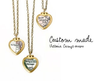 Custom Map Necklace - Tiny Vintage Heart Locket - Brass Chain, Personalized, Gift for Her, Gift under 40
