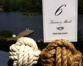 Nautical Wedding Decor - 10-15 Nautical Rope Table Number Holders - 4 inch diameter