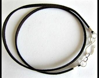 14 to 24 inch Brown Necklace Cord, Espresso Brown  Necklace Cord, Dark Brown Necklace Cord, Silver plated Designer Hook Clasp