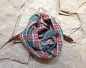 Homespun Flannel Infinity Scarf - Upcycled Flannel Pajama Pants Scarf