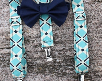 Aqua and navy preppy spring suspenders and bow tie set - Perfect for any little lad!