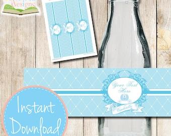 INSTANT DOWNLOAD - Vintage CINDERELLA Drink Bottle Wrapper - Water Bottle Wrapper - Editable Printable