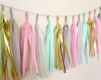 PASTEL PARADISE - Tissue Paper Tassel Garland  - Party - Wedding - Baby Shower - Nursery