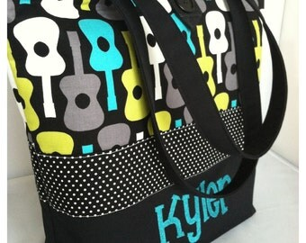 Large Modern Diaper Bag/Tote...Lagoon Guitars...Can Be Personalized...Shower Chic