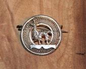 Vintage Llama Filigree Pin in Sterling
