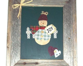 Patchwork Art Snowman Framed Professionally in Barn Wood Frame Country Style