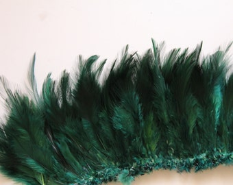 Emerald Green Hackle Hen Feather Fringe / 20 loose feathers