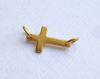 Gold Plated Sterling Silver Small Sideways Cross Connector -- One Piece -- Vermeil Religious Link