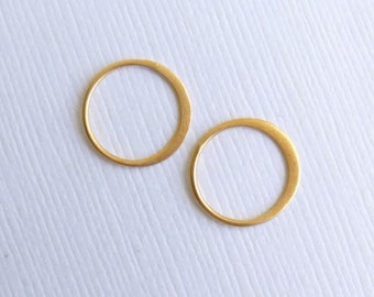 Gold Vermeil Circle Link 12mm --Gold Plated Sterling Silver -- Two Pieces -- HBGS2366