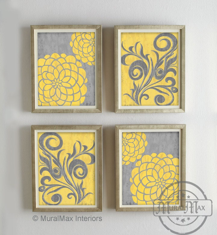 Yellow and gray dahlia flower artwork set of 4 wall art for Yellow and grey bathroom sets