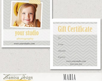 INSTANT DOWNLOAD 5x5 Photography Gift Certificate Photoshop Template -Maria