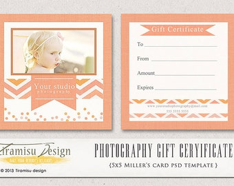Photography Gift Certificate photoshop 5x5 card template - Jessy, INSTANT DOWNLOAD-sku4-1