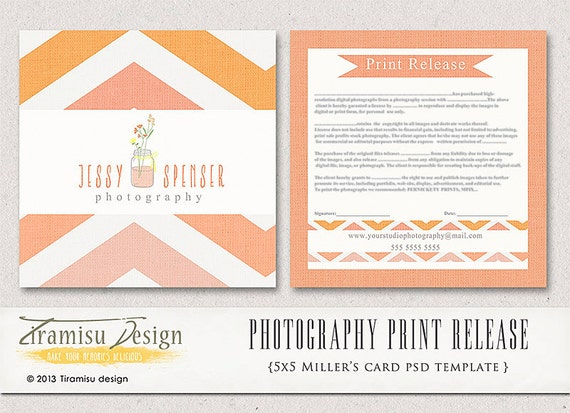 free photography print release form template - photography print release 5x5 template instant download