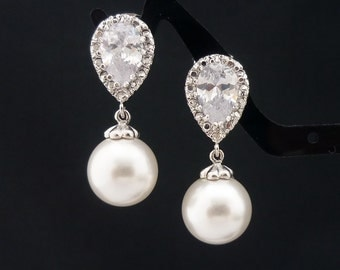 Wedding Jewelry Bridesmaid Gift Bridal Jewelry Bridesmaid Pearl Earrings White OR Cream Swarovski Round Pearl Drop Earrings Dangle Earrings