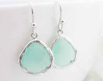 Mint Earrings Mint Green Drop Earrings SeaFoam Chalcedony Earrings Bridesmaid Gift Wedding Jewelry Bridal Jewelry Teardrop Dangle Earrings