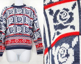 10 Dollar Sale---Vintage 80's HOT CASHEWS Novelty Blue Red Roses & Hearts Knit Sweater M/L