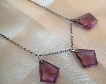 Vintage Genuine Amethyst Drop Sterling Silver Necklace