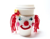 Clown Coffee Cozy, Circus Can Wrapper, Coffee Sleeve, Crochet Drink Cup Holder, Travel Mug Cozy