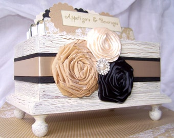 RECIPE BOX, Dividers, Recipe Cards, Ivory Shabby Chic Box, Neutral, Champagne, Tan, Black, Bridal Shower, Custom Colors