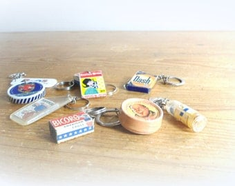 old set of key holders- Mid Century- supermarket - food key holder- collective items 50s-camembert/chocolate