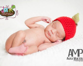 Apple Hat - Newborn through 12 months - Crochet - Photography Prop