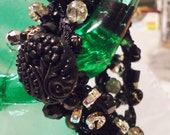 Black, Blingy Hand Crocheted Wrap Bracelet with Beautiful Crystals