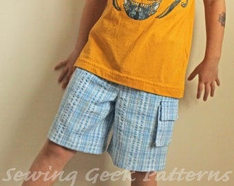 Comfy Shorts - Boy's PDF Sewing Pattern - Three Pocket Options - Sizes 3 months - 18