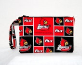 Louisville Cardinals Wristlet Pouch, University bags, and or Cross Body Bag  iPod Bag Digital Camera iPhone5 Bag Small Tech Bag