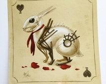 The Queen's White Rabbit, 8x8 archival print, Alice in Wonderland, white rabbit art, Steampunk, Victorian Wonderland, Creepy white rabbit