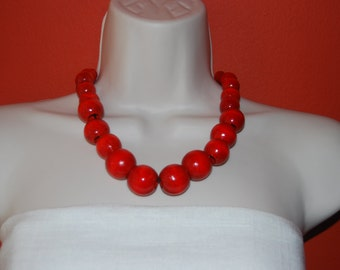 Statement Necklace Chunky Red Beaded Necklace Wood Bold Necklace and Earrings Set Red Wedding Bridesmaids Jewelry