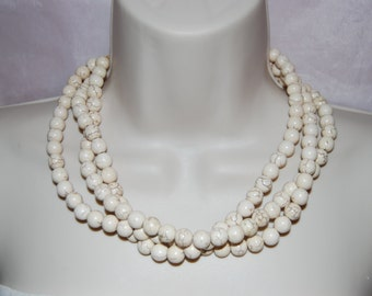 Beige Ivory Statement Necklace Multi-Strand Beige Beaded Necklace Chunky Bold Wedding Jewelry Bridesmaids  Necklace
