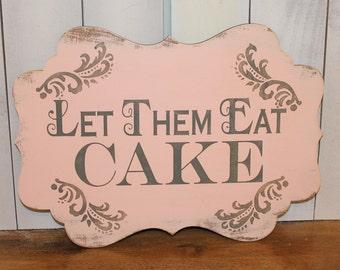 Let Them Eat CAKE Sign//Photo Prop/Damask Fleur/U Choose Colors/Great Shower Gift/Gray/Blush