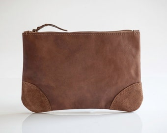 Brown Leather clutch - Small leather purse - Leather pouch by Mayko Bags