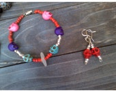 Colored skull beads and beach glass bracelet and earring set