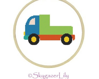 Instant Download Cross Stitch Pattern - Flatbed Truck - Beginners Printable PDF