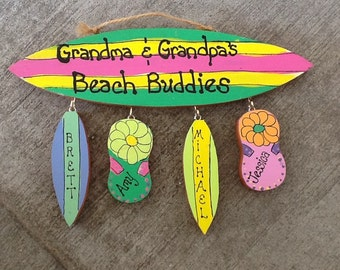 Beach sign personalized surfboard