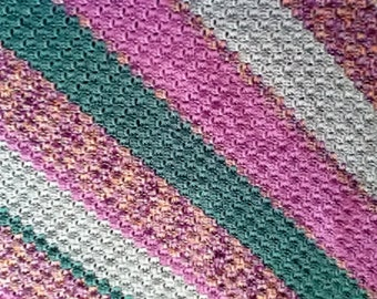 Diagonally Striped Afghan in Shades of Watercolor