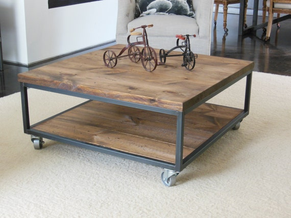 Square Industrial Modern Coffee Table By Aticofurniture On