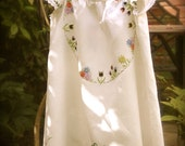 vintage girls dress with hand embroidery Romanian peasant style and heart buttons size 7