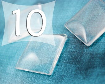 35 mm Square Clear Domed Glass Cabochon Glass Tile Cabs