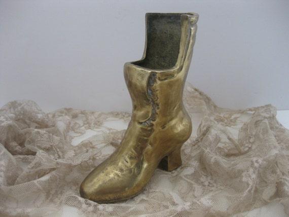Victorian brass boot decorative door stopper by Decorative door stoppers