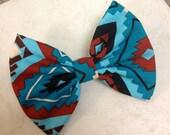 Western Aztec Fabric Hand sewn Hair bow