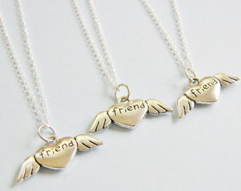 3 Best Friends Heart Angel Wings Necklaces BFF