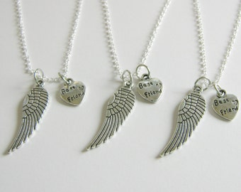 3 Best Friends Angel Wings Necklaces BFF